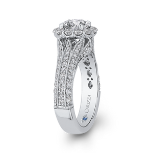 Round Diamond Halo Engagement Ring with Split Shank In 14K White Gold (Semi Mount)