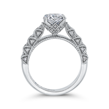 Load image into Gallery viewer, 14K White Gold Round Diamond Cathedral Style Engagement Ring (Semi Mount)