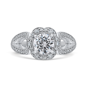 CA0242EH-37W-1.00 Bridal Jewelry Carizza White Gold Round Diamond Halo Engagement Rings