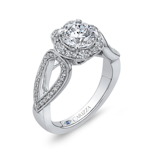 14K White Gold Round Diamond Floral Halo Engagement Ring with Split Shank (Semi Mount)