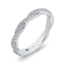 Load image into Gallery viewer, 14K White Gold Round Diamond Crossover Wedding Band