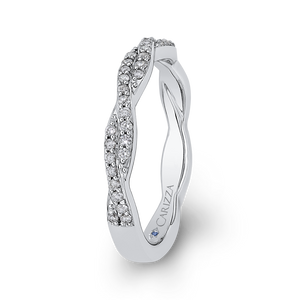 14K White Gold Round Diamond Criss Cross Wedding Band
