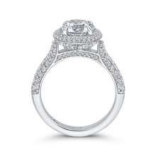 Load image into Gallery viewer, 14K White Gold Round Diamond Double Halo Engagement Ring (Semi Mount)
