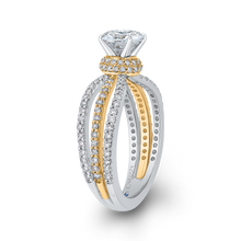 Load image into Gallery viewer, 14K Two Tone Gold Round Diamond Engagement Ring with Split Shank (Semi Mount)
