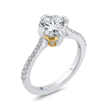 Load image into Gallery viewer, 14K Two Tone Gold Round Diamond Floral Engagement Ring (Semi Mount)