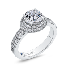 Load image into Gallery viewer, Round Cut Diamond Engagement Ring In 14K White Gold (Semi Mount)