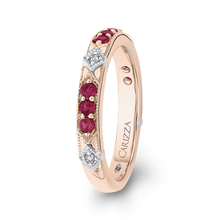 Load image into Gallery viewer, 14K Two Tone Gold Round Diamond and Ruby Wedding Band