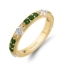 Load image into Gallery viewer, 14K Two Tone Gold Round Diamond and Green Tsavorite Wedding Band