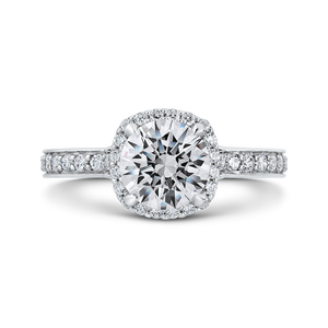 CA0291EQ-37W-1.50 Bridal Jewelry Carizza White Gold Round Diamond Halo Engagement Rings