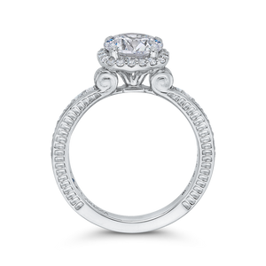 Round Diamond Halo Engagement Ring In 14K White Gold (Semi Mount)