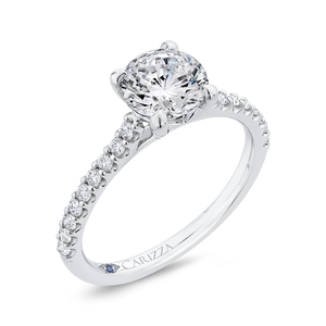 14K White Gold Round Cut Diamond Classic Engagement Ring (Semi-Mount)