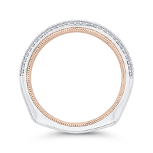 Load image into Gallery viewer, 14K Two Tone Gold Round Cut Diamond Half Eternity Wedding Band