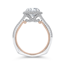 Load image into Gallery viewer, 14K Two Tone Gold Round Cut Diamond Double Halo Engagement Ring (Semi Mount)