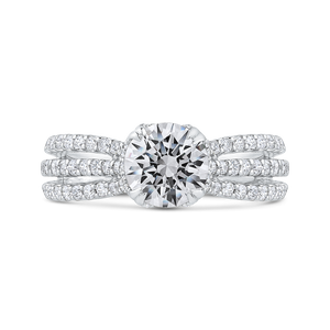 CA0403EQ-37W-1.50 Bridal Jewelry Carizza White Gold Round Diamond Engagement Rings