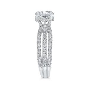 14K White Gold Round Cut Diamond Engagement Ring (Semi Mount)