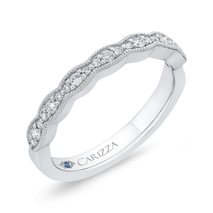 Round Diamond Half Eternity Wedding Band In 14K White Gold