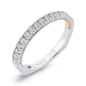 14K Two Tone Gold Round Diamond Half Eternity Wedding Band with Euro Shank