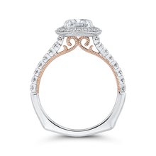 Load image into Gallery viewer, 14K Two Tone Gold Round Diamond Halo Engagement Ring with Euro Shank (Semi Mount)