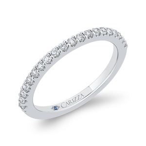 14K White Gold Round Half Eternity Diamond Wedding Band