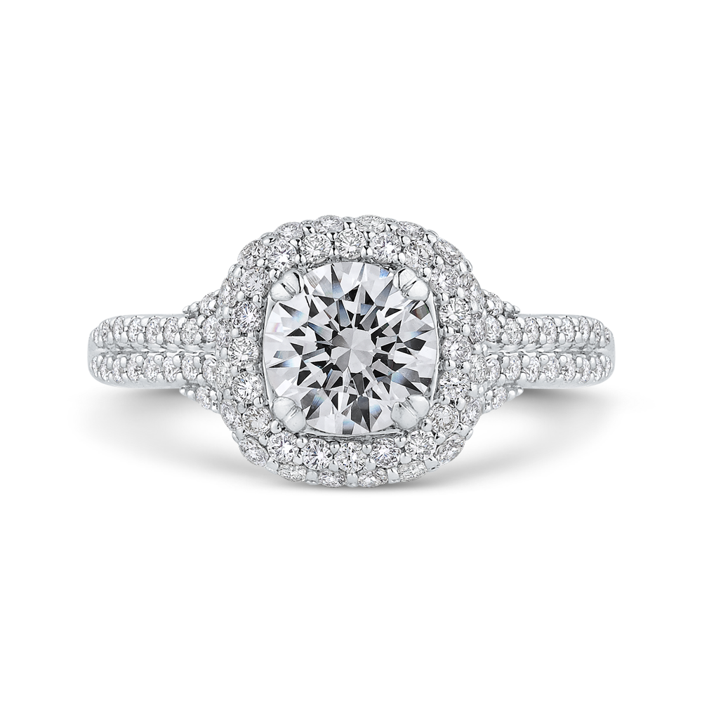CA0415EH-37W-1.00 Bridal Jewelry Carizza White Gold Round Diamond Halo Engagement Rings