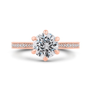 CA0423EQ-37P-1.50 Bridal Jewelry Carizza Rose Gold Round Diamond Engagement Rings
