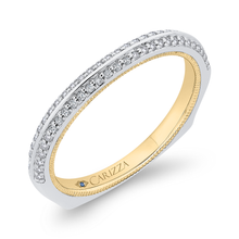 Load image into Gallery viewer, Round Diamond Half Eternity Wedding Band In 14K Two Tone Gold with Euro Shank