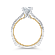 Load image into Gallery viewer, 14K Two Tone Gold Round Diamond Engagement Ring with Split Side Euro Shank (Semi Mount)