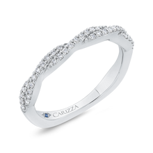 Load image into Gallery viewer, Round Cut Diamond Crossover Shank Half Eternity Wedding Band In 14K White Gold