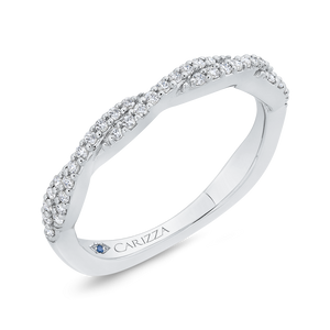 Round Cut Diamond Crossover Shank Half Eternity Wedding Band In 14K White Gold