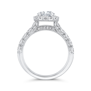 Round Halo Diamond Engagement Ring In 14K White Gold (Semi Mount)