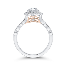 Load image into Gallery viewer, 14K Two Tone Gold Round Diamond Floral Halo Engagement Ring (Semi Mount)