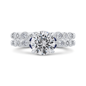 14K White Gold Round Diamond Engagement Ring with Sapphire (Semi Mount)