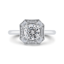 Load image into Gallery viewer, CA0444E-37W-1.00 Bridal Jewelry Carizza White Gold Round Diamond Halo Engagement Rings