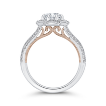 Load image into Gallery viewer, 14K Two Tone Gold Round Diamond Floral Halo Engagement Ring with Split Shank (Semi Mount)