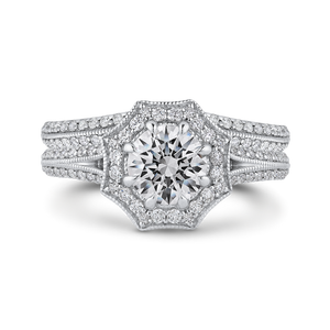 14K Two Tone Gold Round Diamond Floral Halo Engagement Ring with Split Shank (Semi Mount)