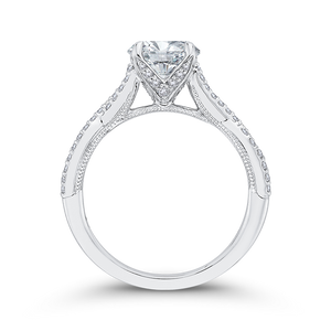 Round Diamond Engagement Ring In 14K White Gold with Split Shank (Semi Mount)