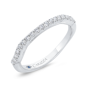 Round Cut Diamond 14K White Gold Half Eternity Wedding Band