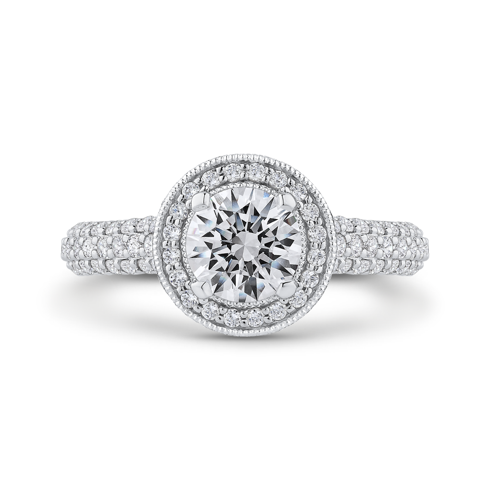CA0458EQ-37WP-1.00 Bridal Jewelry Carizza White Gold,Rose Gold Round Diamond Engagement Rings