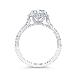 14K White Gold Diamond Halo Engagement Ring (Semi-Mount)