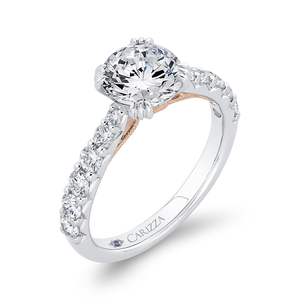 14K Two-Tone Gold Diamond Engagement Ring (Semi-Mount)