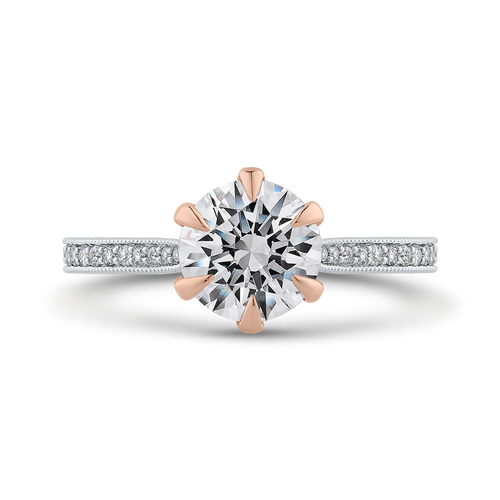 CA0470EH-37WP-1.50 Bridal Jewelry Carizza White Gold,Rose Gold Round Diamond Engagement Rings
