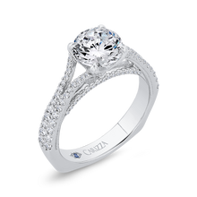 Load image into Gallery viewer, 14K White Gold Diamond Halo Engagement Ring with Euro Shank (Semi-Mount)
