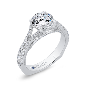 14K White Gold Diamond Halo Engagement Ring with Euro Shank (Semi-Mount)