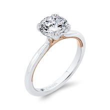 Load image into Gallery viewer, 14K Two-Tone Gold Solitaire Engagement Ring (Semi-Mount)