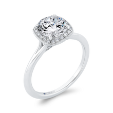 Load image into Gallery viewer, 14K White Gold Diamond Halo Engagement Ring (Semi-Mount)