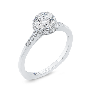 14K White Gold Diamond Engagement Ring with Euro Shank (Semi-Mount)
