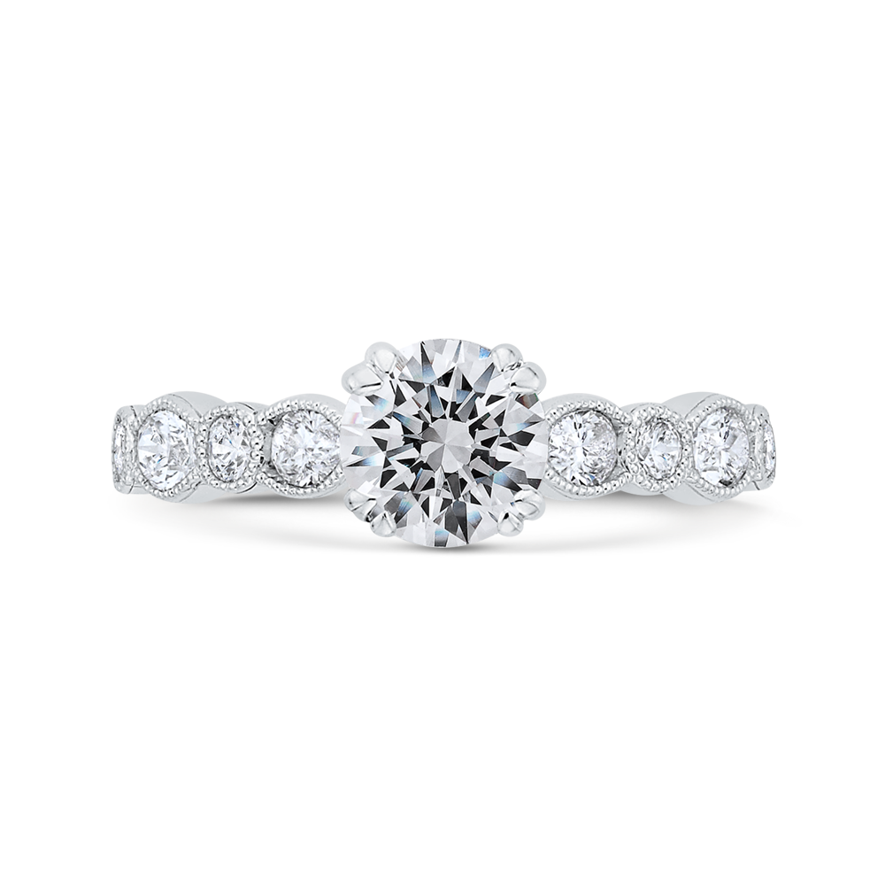 CA0493EH-37W-1.00 Bridal Jewelry Carizza White Gold Round Diamond Engagement Rings