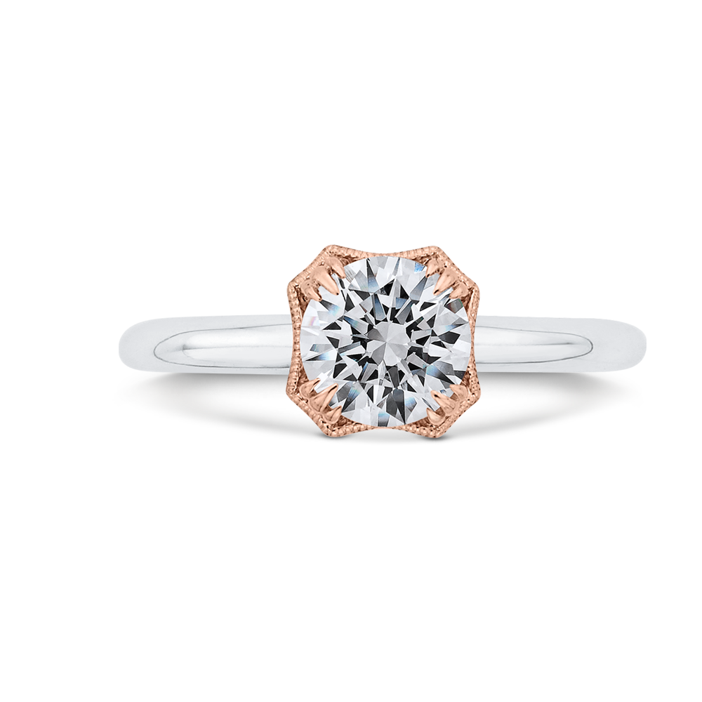 CA0520E-37WP-1.00 Bridal Jewelry Carizza White Gold,Rose Gold Round Diamond Engagement Rings