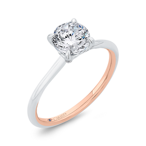 14K Two-Tone Gold Diamond Solitaire Plus Engagement Ring (Semi-Mount)