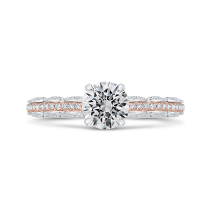 CA0527EH-37WP-1.00 Bridal Jewelry Carizza White Gold,Rose Gold Round Diamond Engagement Rings